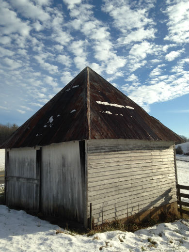 Box of a barn topped by a four-triangle roof, Black Ridge Rd. SW.