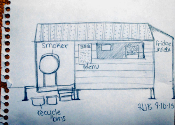 The Shack. Sketch by Hannah Brooke.