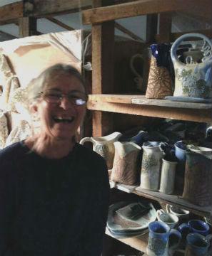 Jayn in her studio, Zephyr Community, 2014.