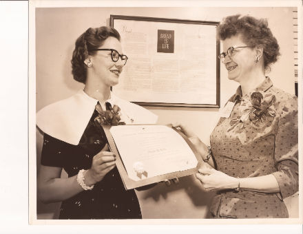 Receiving the CPS Certification from Mary Ruth Chiles, President, Tennessee Division, 1954.