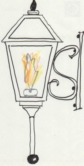 "Sketch of gas lantern by William ""Woody"" Crenshaw, 2014."