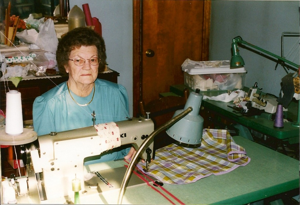 Lucille at home sewing on an industrial-quality machine. Photo by Judy N. Hylton.